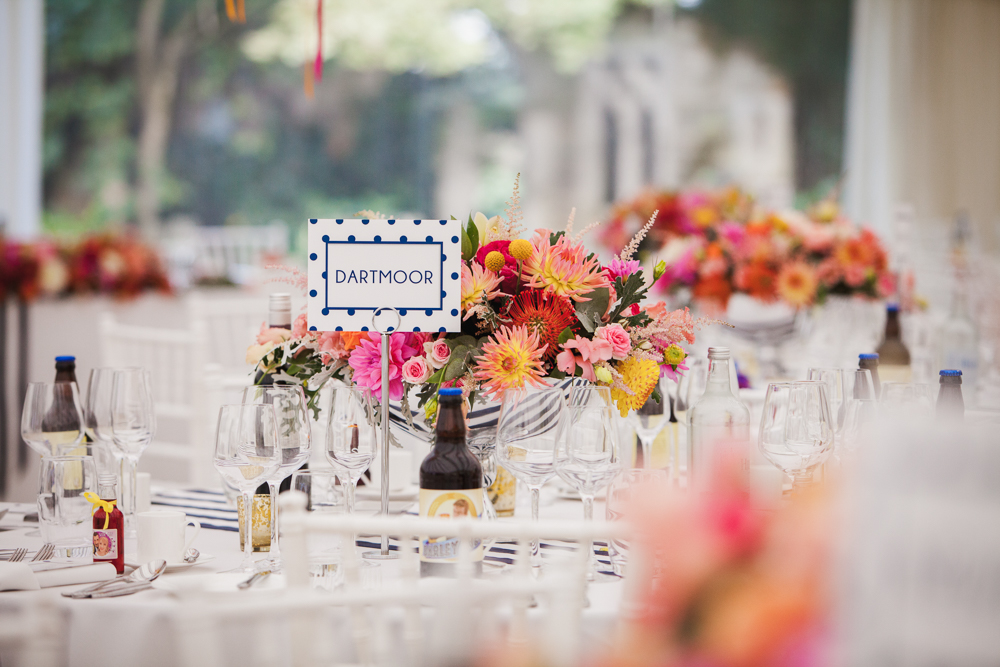 Bright and bold wedding flowers Simon Carr Photography